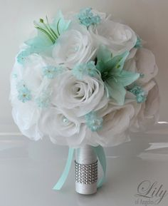 "17 Piece Package Wedding Bridal Bride Maid Of Honor Bridesmaid Bouquet Boutonniere Corsage Silk Flower TIFFANY BLUE WHITE ""Lily of Angeles"""