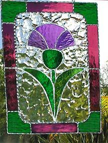 "Scottish Thistle Stained Glass Suncatcher - 8"" x 12"" - $42.95--- Celtic Designs, Irish Designs, Irish Sun Catchers - Glass Suncatchers, Stained Glass Décor, Stained Glass Sun Catchers -  Stained Glass Design - See more stained glass designs at www.AccentonGlass.com"