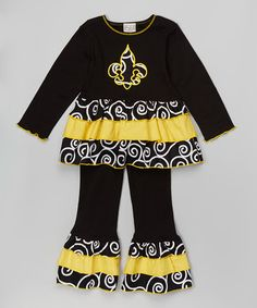 Look what I found on #zulily! Black Fleur de Lis Ruffle Tunic Set - Infant, Toddler & Girls #zulilyfinds