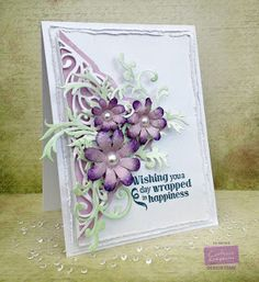 Wishing You Happiness by Veritycards - Cards and Paper Crafts at Splitcoaststampers Card Making Tips, Making Ideas, Crafters Companion Cards, Heartfelt Creations Cards, Shabby Chic Cards, Spellbinders Cards, Card Making Inspiration, Pretty Cards, Flower Cards
