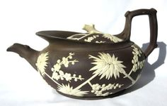 Wedgwood-19th-Century-PRUNUS-Decorated-Redware-Teapot-Cover-Extremely-Rare