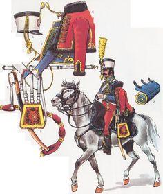 Trompette en 1803 d'après Rigo (Le Plumet, planche 185), qui indique comme sources les mémoires d'Espinschal et le tableau représentant le Colonel Schwarz.