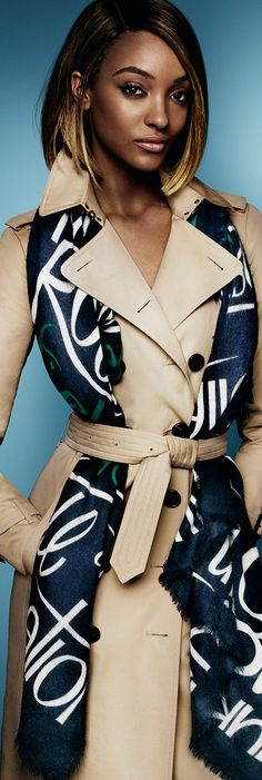 Jourdan Dunn stars in the S/S15 campaign, wearing a scarf in typographic print