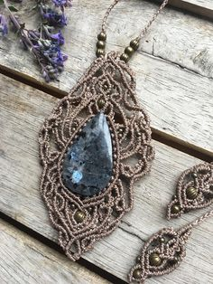 Large Larkivite Necklace This incredible stone is tightly set in place in an intricate art deco style necklace. Adjustable knot allows you to wear it any length, maximum length is 41cm. Your larkivite stone measures approximately 5cm x 2.5cm **All my work is made using Linhasita, a