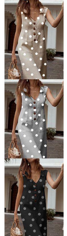 Polka Dot V Neck Sleeveless Buttons Pockets A-line Plus Size Midi Dress Polka Dot V-Ausschnitt Ärmel Day Dresses, Casual Dresses, Casual Outfits, Belted Shirt Dress, Tee Dress, Dress Sewing Patterns, Mode Outfits, Women's Fashion Dresses, Polka Dot