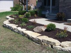 Beds and Borders Greenwood IN Landscape Design & Installation Experts Landscaping With Large Rocks, Stone Landscaping, Landscaping Retaining Walls, Privacy Landscaping, Hillside Landscaping, Front Yard Landscaping, Garden Edging, Garden Borders, Landscape Boarders