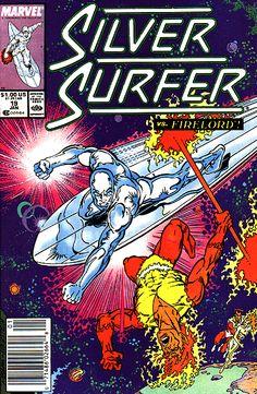 Silver Surfer vs Firelord    Silver Surfer Vol. 3 # 19 by Ron Lim & Joe Rubinstein