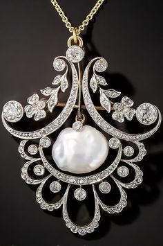 Edwardian pearl and diamond pendant, circa 1900