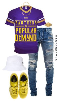 """""""Untitled #1497"""" by visionsbyjo on Polyvore featuring Versace, Balmain, adidas, HUF, women's clothing, women, female, woman, misses and juniors"""