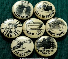 (7) Old Hassan Cigarette Premium Comic Celluloid Pin Back Buttons
