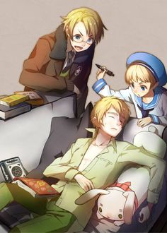 Hetalia- America, England, Sealand. . . are you reading an alchemy book?