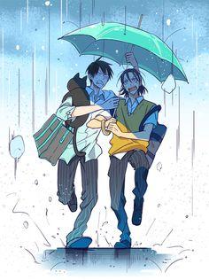 全く色気のない相合い傘。  全開ケイデンス5で発行した東荒本の通販が始まりましたので、お知らせ。 よろしければどうぞ。 http://www.toranoana.jp/mailorder/ar