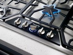 """Thermador 36"""" Gas Cooktop with 5 Star Burners - Stainless Steel w/ Blue Indicator Lights"""