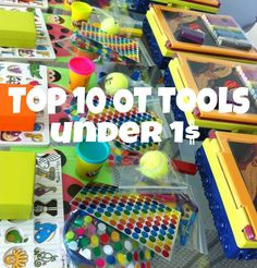 Top 10 OT tools under a dollar. Includes tools like clothespins, playdough, scissors, and more. It also explains what the therapeutic benefits of each tool is! Great information.