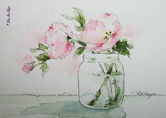 Watercolor Paintings by RoseAnn Hayes: Pink Evening Primrose Watercolor Painting