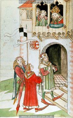 Friedrich I. von Brandenburg vor König Sigismund   Dieses Bild: 006713     1465 ; 1475 ; Wien ; Österreich ; Wien ; Österreichische Nationalbibliothek ; cod. 3044 ; fol. 91v  Armorial Display