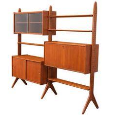 Danish Modern Teak Free-Standing Bookshelf Unit
