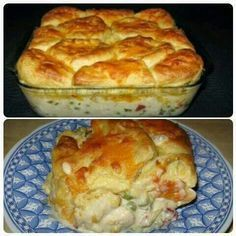 Chicken biscuit casserole--- saute garlic with the onion; add time. double 'sauce' for stone; one recipe of biscuit. it was 10 , 9 whole, cut 1 in 1/4, put in corners