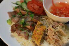 Vietnamese Soul Food: Com tam Suon bi cha- Broken Rice with Grilled Pork, Pork loaf, Shredded Pork, Pork Skin.