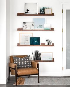 Gallery Wall Shelves with a Leather Stanton Chair, Home Accessories, Got a corner? Create a cozy nook anywhere with the Leather Stanton Chair, seen here in this room designed by Lindye Galloway. Home Living Room, Apartment Living, Living Room Decor, Living Spaces, Wall Shelving Living Room, Wood Room, Decor Room, Diy Home Decor, Den Decor