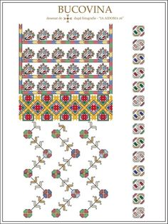 (1) Gallery.ru / Фото #8 - Буковина - румынские схемы - bdancer Folk Embroidery, Learn Embroidery, Embroidery Patterns, Machine Embroidery, Knitting Patterns, Cross Stitch Borders, Cross Stitch Patterns, Antique Quilts, Embroidery Techniques