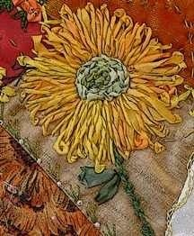 sunflower ribbon embroidery