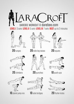 Instructions: Repeat each move with no rest in between until the set is done, rest up to 2 minutes and repeat the whole set again 3, 5 or 7 times depending on your fitness level. When you have an English Rose kicking butt in the most exotic parts...