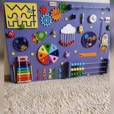 Baby Sensory Board, Toddler Activity Board, Baby Sensory Play, Sensory Wall, Toddler Learning Activities, Baby Learning, Sensory Toys, Infant Activities, Sensory Boards