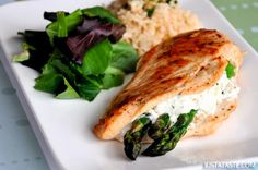 Just a Taste | Asparagus and Goat Cheese Stuffed Chicken | http://www.justataste.com