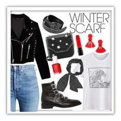"""""""winter scarf outfit"""" by annabalint16 on Polyvore featuring RE/DONE, The Kooples, STELLA McCARTNEY, Givenchy, Alexander McQueen, Essie, MAC Cosmetics, but, cold and winterscarf"""