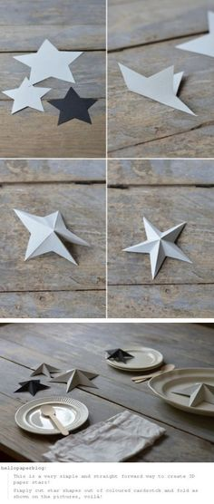 Paper stars. Leave them flat or glue two together. I love the nautical look. Would also look pretty with the edges trimmed in glitter.
