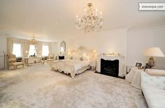 Luxury master bedroom, in whites and creams.oh yes !