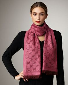 Gucci GG Pattern Scarf, Magenta Bordeaux from Neiman Marcus on shop.CatalogSpree.com, your personal digital mall.