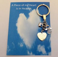 A Piece of my Heart is in Heaven Angel Heart Memorial Remembrance Key Ring Gift or could be used as a Bag Charm using split ring Remembrance Gifts, Angel Heart, Angels In Heaven, Tiny Heart, Split Ring, Organza Gift Bags, Piece Of Me, Lucky Charm, Novelty Gifts