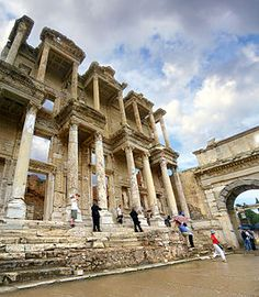 Ephesus, Turkey  The roof of the Library of Celsus has collapsed, but its large façade is still intact.