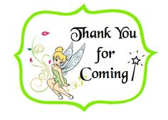Free Tinker Bell Thank You Labels. Print on card stock or Avery Labels #22823 ( 3 x 3 3/4) rectangular labels