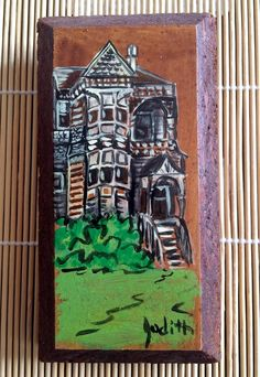 Small Vintage Painting on Wood Victorian House Queen Anne Style Signed Judith #IllustrationArt
