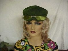 Moss green fascinator hat with chartreuse front by designer2, $24.00
