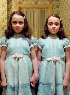 The creepy Grady daughters in The Shining play on our natural fascination with, and even fear of, twins. Do twins communicate telepathically? American Werewolf In London, Felt Wreath, Best Horror Movies, Movie Memes, The Exorcist, Best Horrors, Creature Feature, Nightmare On Elm Street, Vegetable Garden