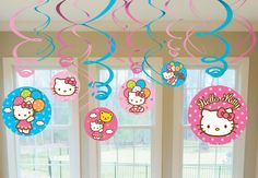 Hello Kitty Balloon Dreams Hanging Swirl Value Pack - Includes (6) hanging swirls with cutouts (24) and (6) foil hanging swirls (18). This is an officially licensed Hello Kitty product.