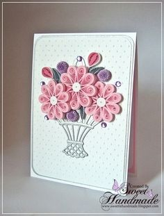 Pink and grey – quilling card (quiling paper art easy) Pink and gray – quilling card (easy Quiling … Quilling Birthday Cards, Paper Quilling Cards, Paper Quilling Flowers, Paper Quilling Patterns, Origami And Quilling, Quilled Roses, Neli Quilling, Quilling Images, Quilling Paper Craft