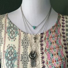 Sale!🆕Boho Turquoise & Fringe Necklace 3 row necklace. Three chain necklace connected to a single adjustable clasp. Features a turquoise pendant, key charm, & fringe emblem. Approx hang length: 13 inches (33 cm). *Pictured with Our Orange & Mint Scoop Neck Print Dress-Sold Separately* Jewelry Necklaces
