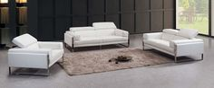 Divani Casa Livorno Modern White Leather Sofa Set