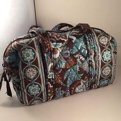 cce3b5c688 Vera Bradley Java Blue Retired Satchel Brown Teal Aqua Floral Purse Bag 10  in  VeraBradley