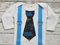 NFL Carolina Panthers Football Inspired Tie and Suspenders Bodysuit Shirt - Made to Order - 0-3M through 5T