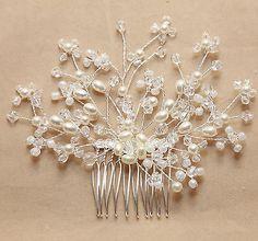 Vintage Style Swarovski  Pearl Bride Rhinestone Crystal Wedding Hair Comb