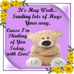 Hug Week 17th-23rd July. Send these cute hugs to anyone with your love! Permalink : http://www.123greetings.com/events/hug_week/lots_of_hugs_for_you.html