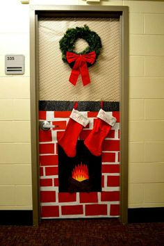possible pick up lines include  letu0027s cozy on up by the fireplace   baby itu0027s cold outside   chestnuts roasting on an open fire  & Christmas Door Decorating Ideas | Pinterest | Doors Christmas door ...
