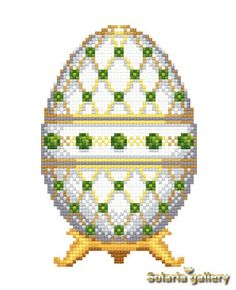 "Pattern ""White Faberge Egg with Emeralds"" - PDF download"