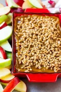 Caramel apple dip topped with toffee bits.